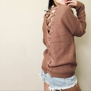 Brand new X shapes brown knit top
